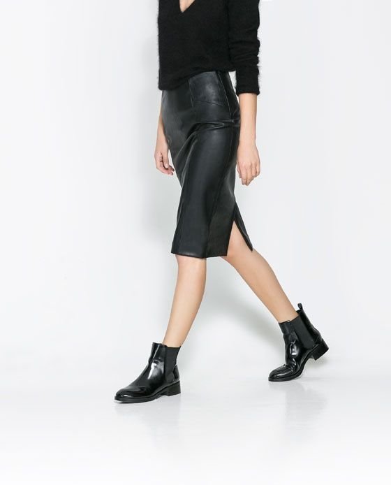 Image 3 of SYNTHETIC LEATHER PENCIL SKIRT from Zara