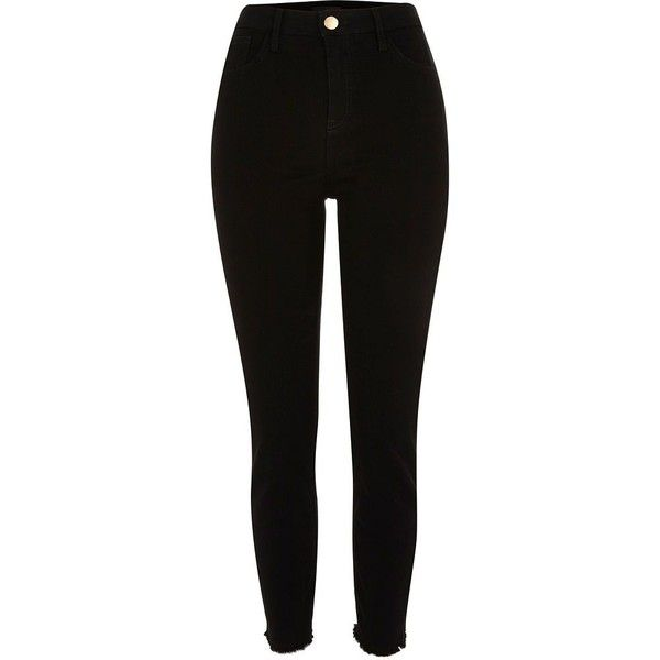 Black high waisted Lori skinny jeans (£35) ❤ liked on Polyvore featuring jeans, pants, bottoms, pantalones, black, skinny jeans, women, super skinny jeans, button-fly jeans and high rise jeans