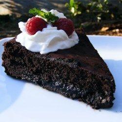 Warm Flourless Chocolate Cake with Caramel Sauce - Allrecipes.com