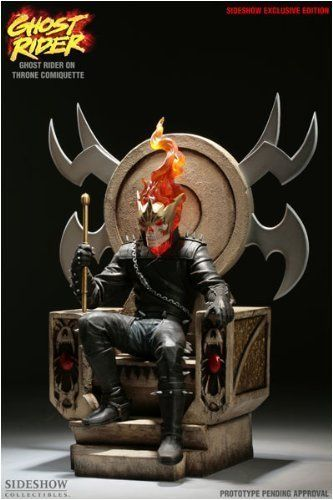 MARVEL Maquette: Ghost Rider on Throne Exclusive Edition Comiquette Sideshow Collectibles! by Sideshow Collectibles. $499.95. Sideshow Collectibles and Marvel Comics are proud to present the Ghost Rider on Throne Comiquette! Straight from the cover of the Ghost Rider Finale #94, this expertly sculpted Comiquette depicts Ghost Rider as the ruler of the Nether Realm. Cast in high-quality polystone, hand finished and hand painted to exacting standards, the Ghost Rider on Throne Co...