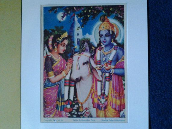 A 1930's Print of Krishna and Radha by Sharma Picture by Lallibhai, £10.00