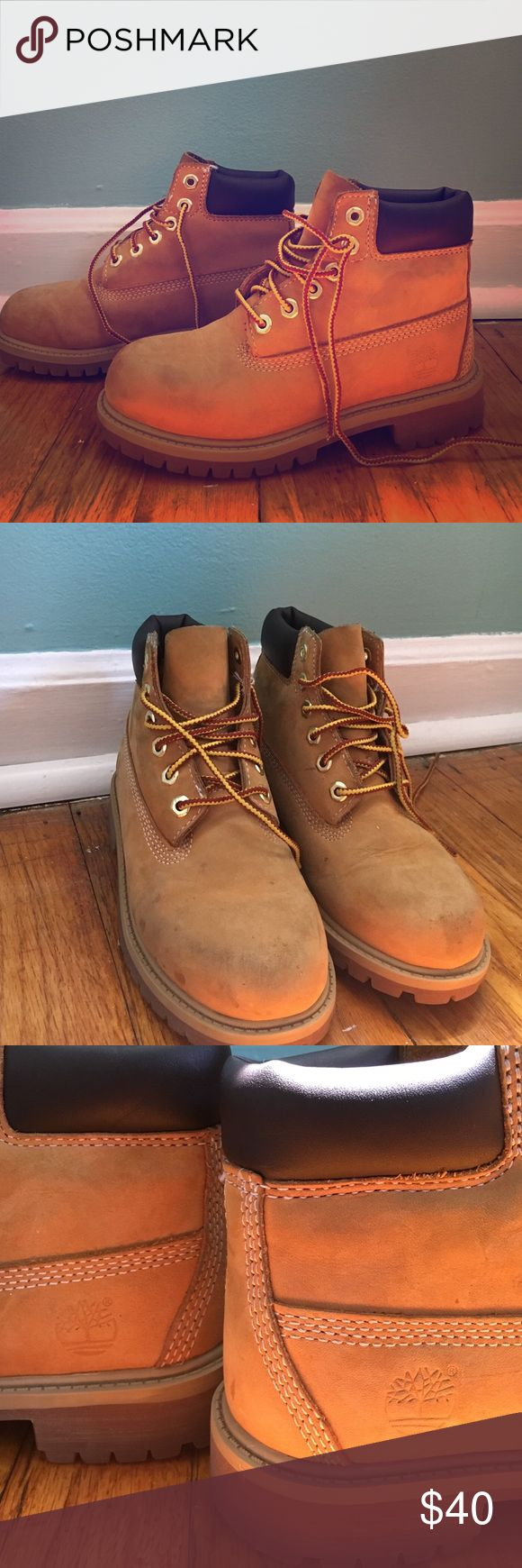 Youth Timberland Boots! Youth Timberland Boots! ✅In good condition ➖Sizing: US 13 Euro 31 ➖lots of life left authentic! minor imperfections (a few stains/spots on the shoe, should come off with suede cleaner) Timberland Shoes Ankle Boots & Booties