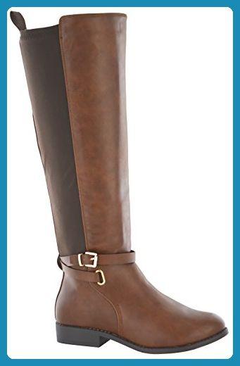 Damenstiefel, extrabreit, flach, mit Goldschnalle, weite Passform, braun - braun - Größe: 39 1/3 EU - Stiefel für frauen (*Partner-Link)