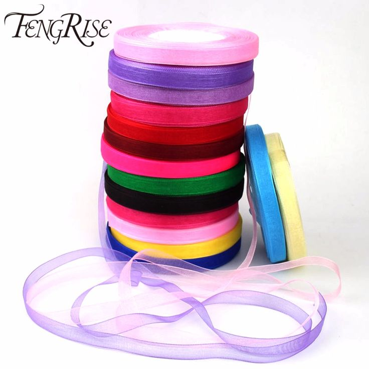 FENGRISE Organza Silk Ribbon 10mm 50yards Chiffon Roll Sewing Fabric Supplies Accessories Craft Gift Wrapping Wedding Decoration