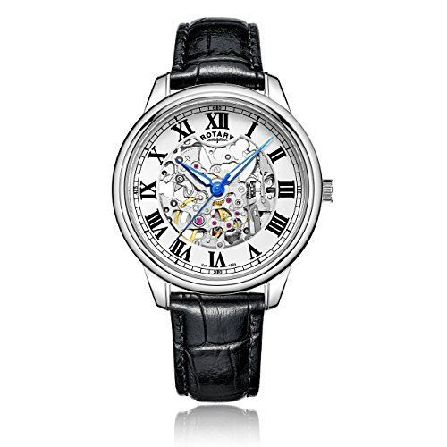 Rotary Men's Automatic Watch with White Dial Analogue Display and Black Leather Strap GS00654/01--91.26