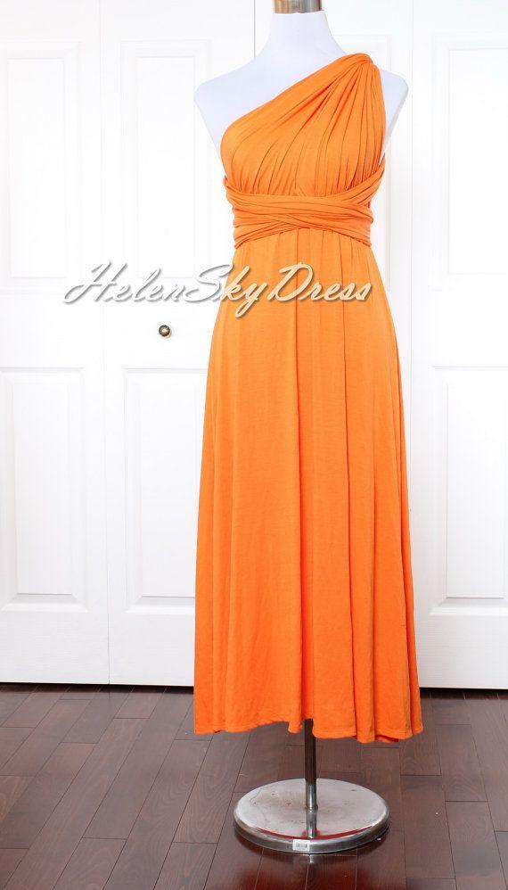 Bridesmaid Dress Infinity Dress Orange Bridesmaid by HelenSkyDress