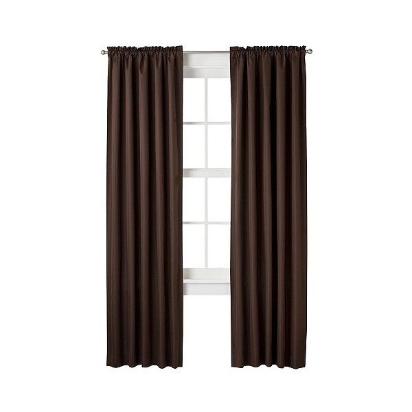 Room Essentials Thermal Curtain Panel ($9.99) ❤ liked on Polyvore featuring home, home decor, window treatments, curtains, brown, thermal drapery panels, thermal window treatments, thermal window panel, rod pocket curtains and brown curtain panels