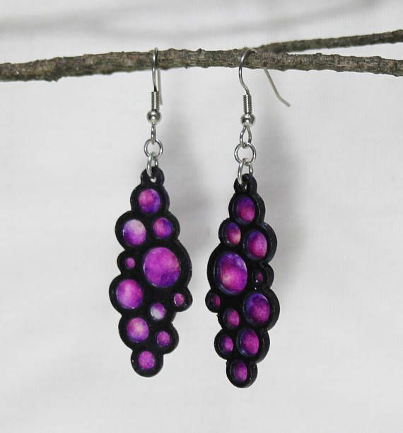 Pink and Purple Bubble Cluster Paper Earrings. Made from rice paper and alcohol ink. Unique and lightweight jewelry made by Messy Ever After.