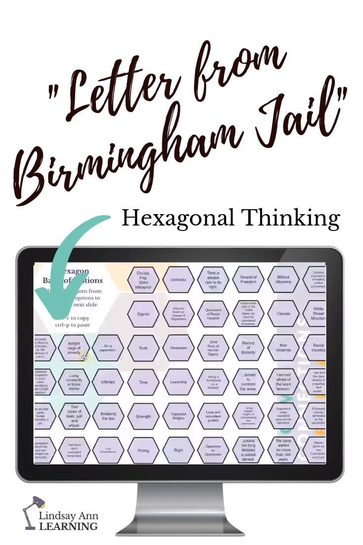 Letter from Birmingham Jail Hexagonal Thinking Activity