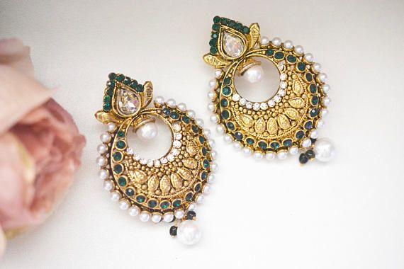 Gold Earring Crystal Chandelier Pearl Wedding Bridal Bollywood