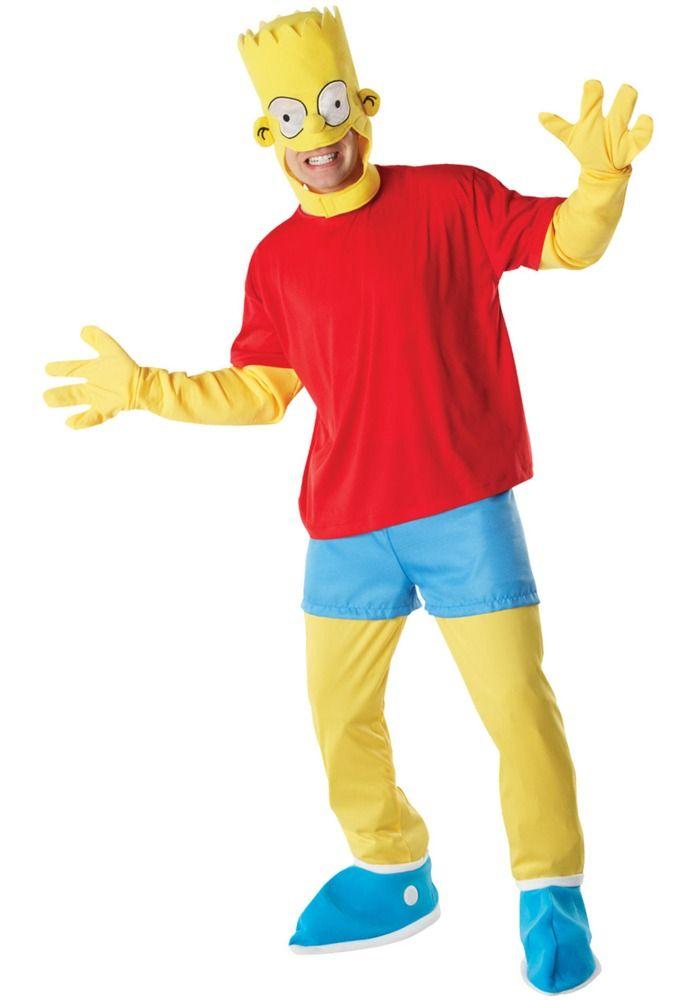 Bart Simpson Deluxe. Yläosa, housut, päähine ja kengänpäälliset.