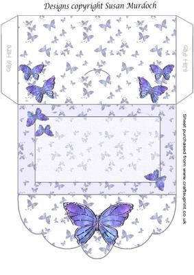 GIFT ENVELOPE MONEY WALLET BUTTERFLIES on Craftsuprint - Add To Basket!