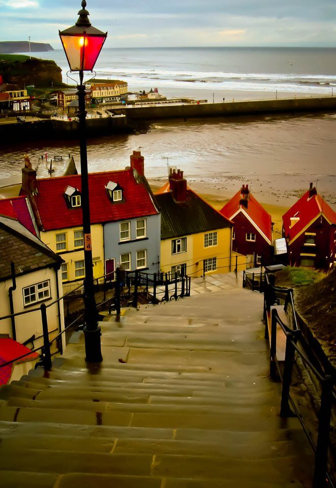 The 199 steps leading down from Whitby Abbey to the harbour at the mouth of the River Esk.