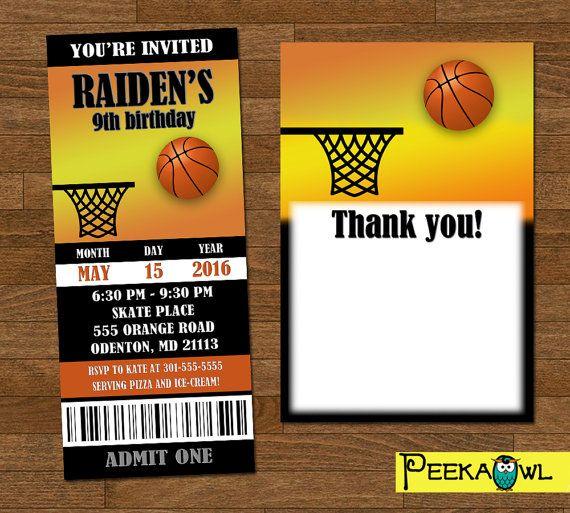 Printable Basketball invitation ticket - Customize Basketball birthday party invites - Basketball invites -  Free Basketball thank you card!