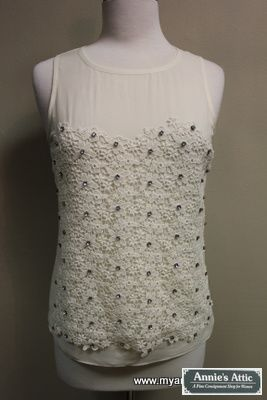 Ann Taylor sleeveless blouse, size XSMALL Ivory, silk Rhinestone beads on the front $15.00