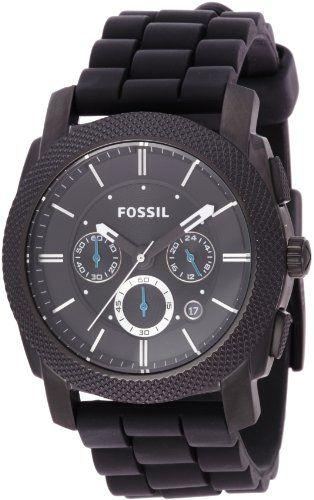 Fossil Mens Black Silicone #Bracelet Black Analog Dial Chronograph #Watch