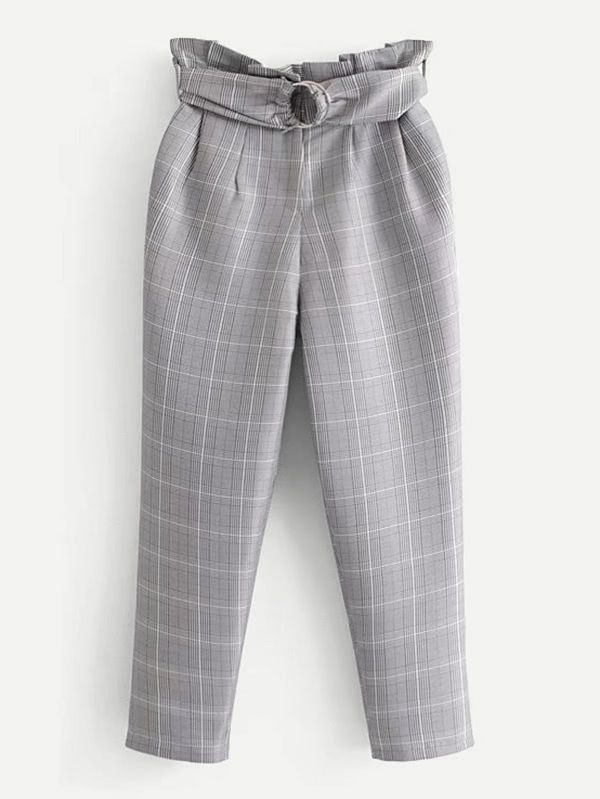 Shop Plaid Tapered Pants With Ring Belt online. SheIn offers Plaid Tapered Pants With Ring Belt & more to fit your fashionable needs.