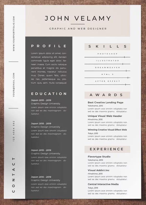 Resume Vol 7 By Jiwstudio On Envato Elements Indesign Resume Template Resume Cv Design Template