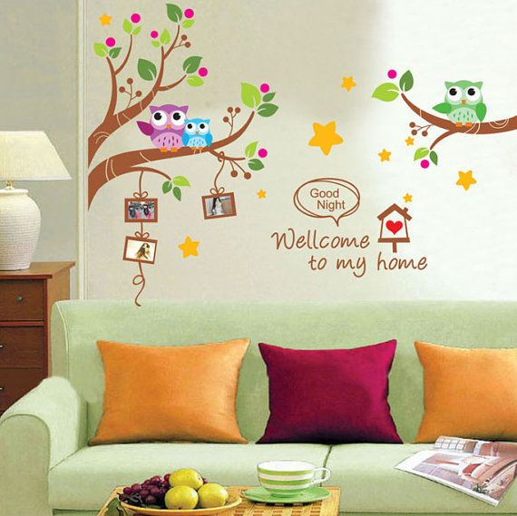 Wall sticker autocollant hiboux sur branche arbre par for Decoration chambre hibou