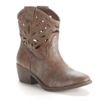 SO Cutout Cowboy Ankle Boots - Women, Tammy These are adorable! $39.99 at Kohls