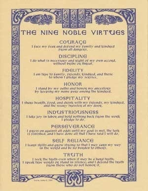 Book of Shadows:  The Nine Noble Virtues.                                                                                                                                                                                 More