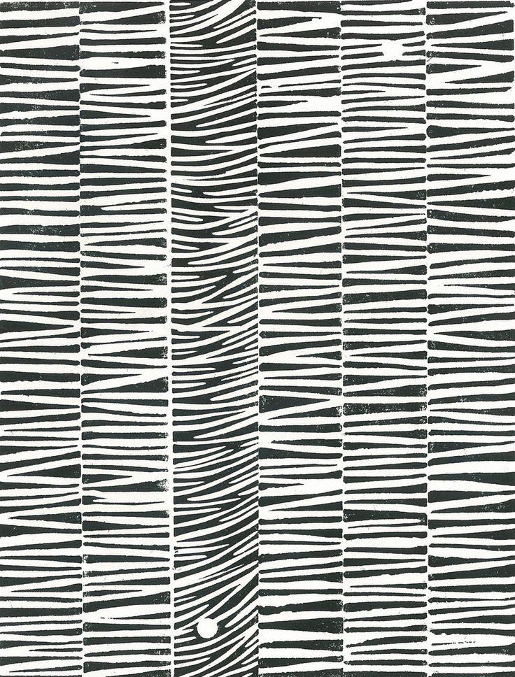STRIPED PATTERN  Linoleum Block Print