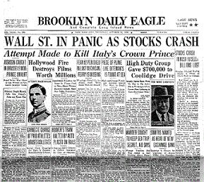 Source: Newspaper, c.1929. The stock market crash of 1929 brought the economic world to a halt. Billions of dollars were lost worldwide. People lined up at their banks in a rush to withdraw their money before it was all lost.