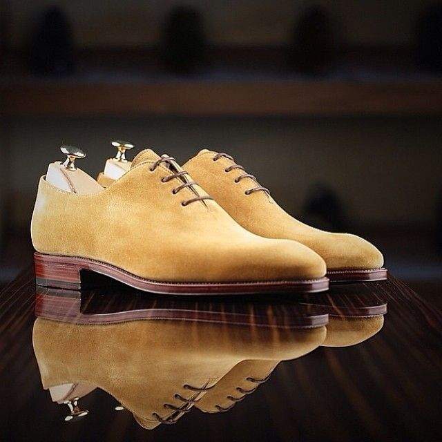 Wholecut in cream suede by Carmina Shoemaker to leatherfoot