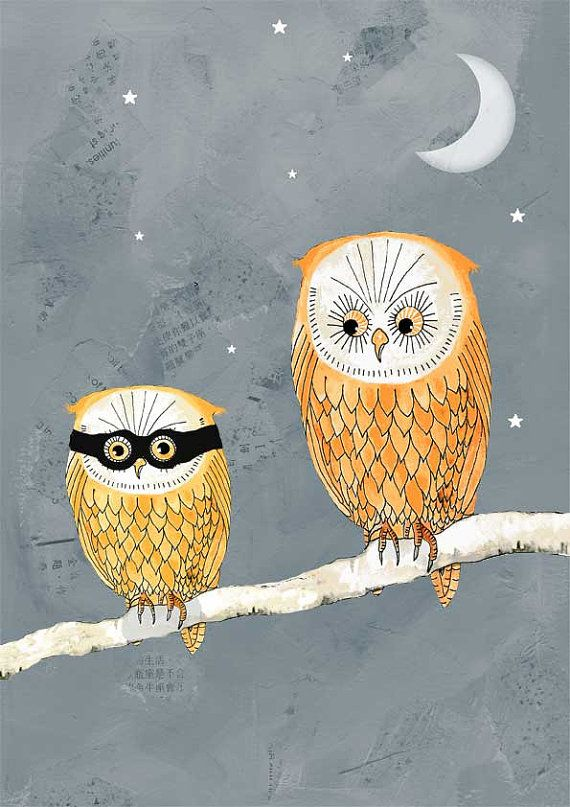 love this illustration for Halloween, nothing like a scary baby owl!