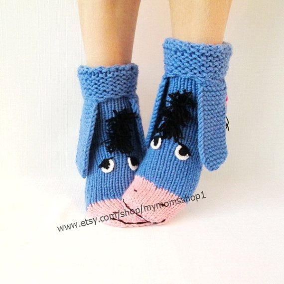 Eeyore knitted socks the donkey from Winnie the Pooh Socks