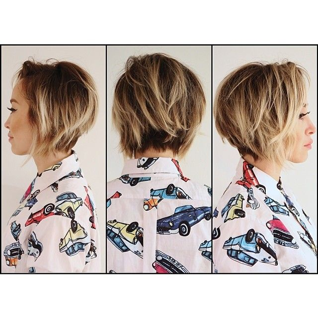 that cut and color. Messy / easy hair / tousled hair / bob / highlights / spring hair / balayage