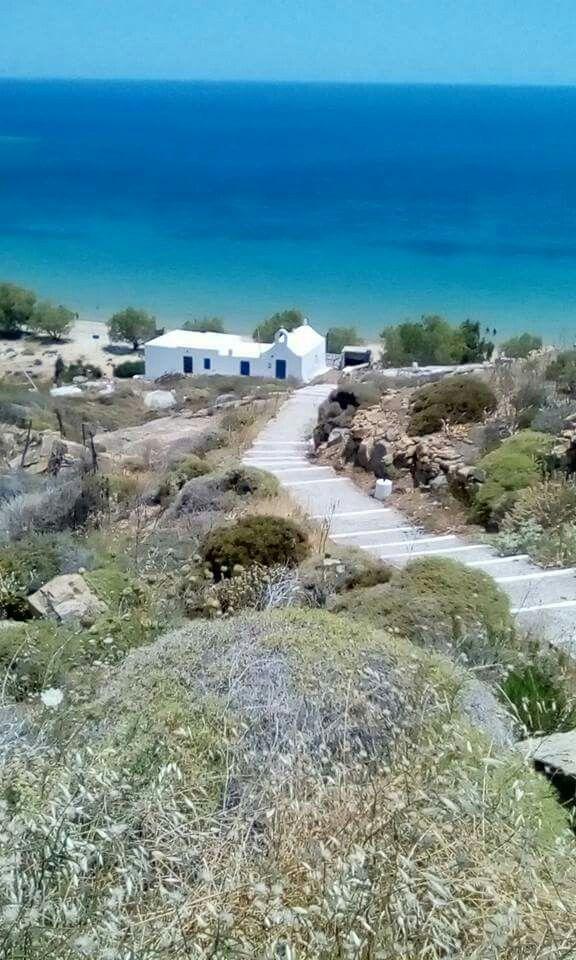 Agios Ioannis beach and the chapel of Agios Ioannis, Serifos island, Cyclades, Greece