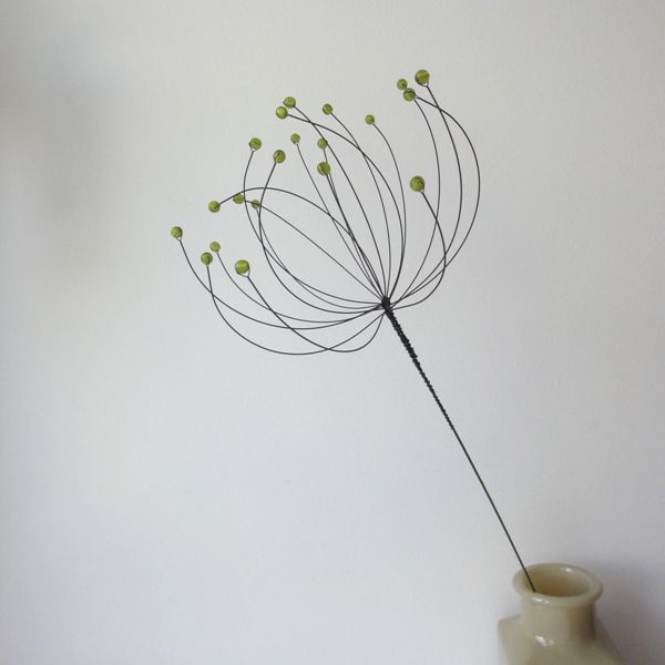 wire flower with beads