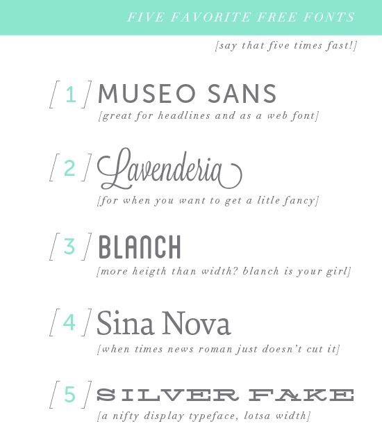 Typo graphic | 5 Favorite Free Fonts | Pinegate Road