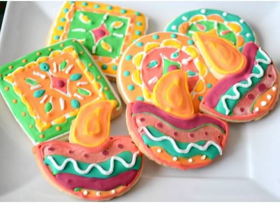 Sugar cookies - Diwali diya and rangoli -