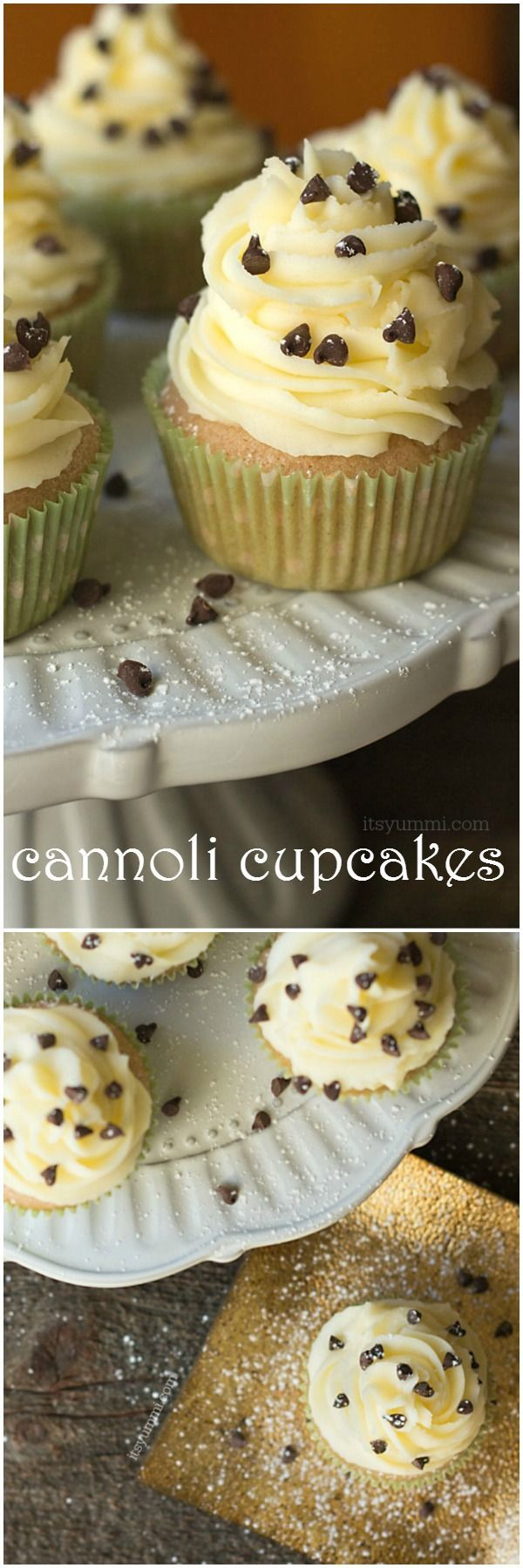 Cannoli cupcakes are inspired by the popular Italian dessert. Vanilla cupcakes with mascarpone frosting, chocolate chips and powdered sugar. via @itsyummi