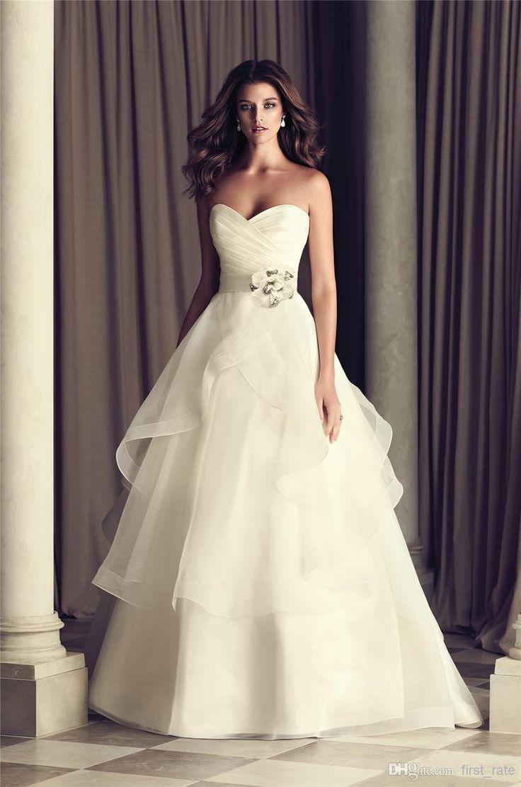 Wholesale 2014 New Wedding Dress A Line Sweetheart Drag Handmade Flower Beaded Belt Straps Of Organza