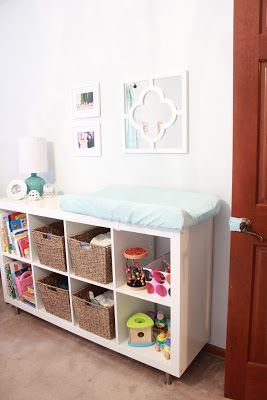 baby girl nursery - pale aqua, bookshelf, changing table