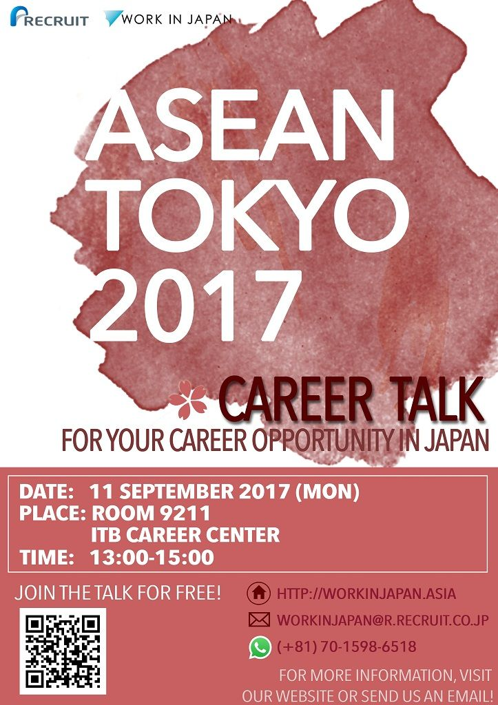 Are you interested in working in Japan?! JOIN! ASEAN TOKYO 2017 Seminar & Recruitment. Monday, 11th Sep. Info >> http://bit.ly/2wJP7Zg