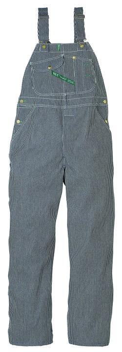 Railroad stripe overalls.
