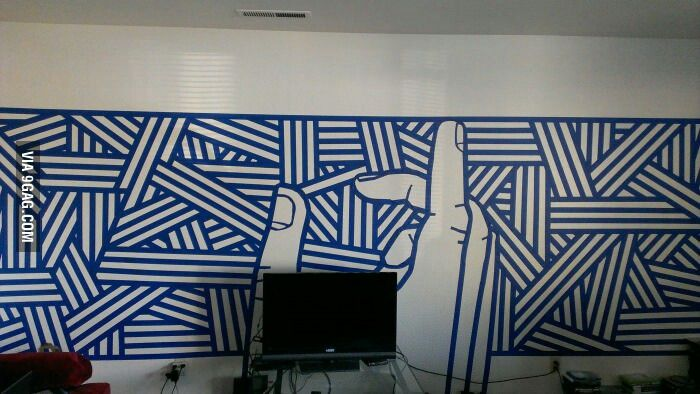 blue painters tape boredom wall art my style pinterest painters tape tape and painters. Black Bedroom Furniture Sets. Home Design Ideas