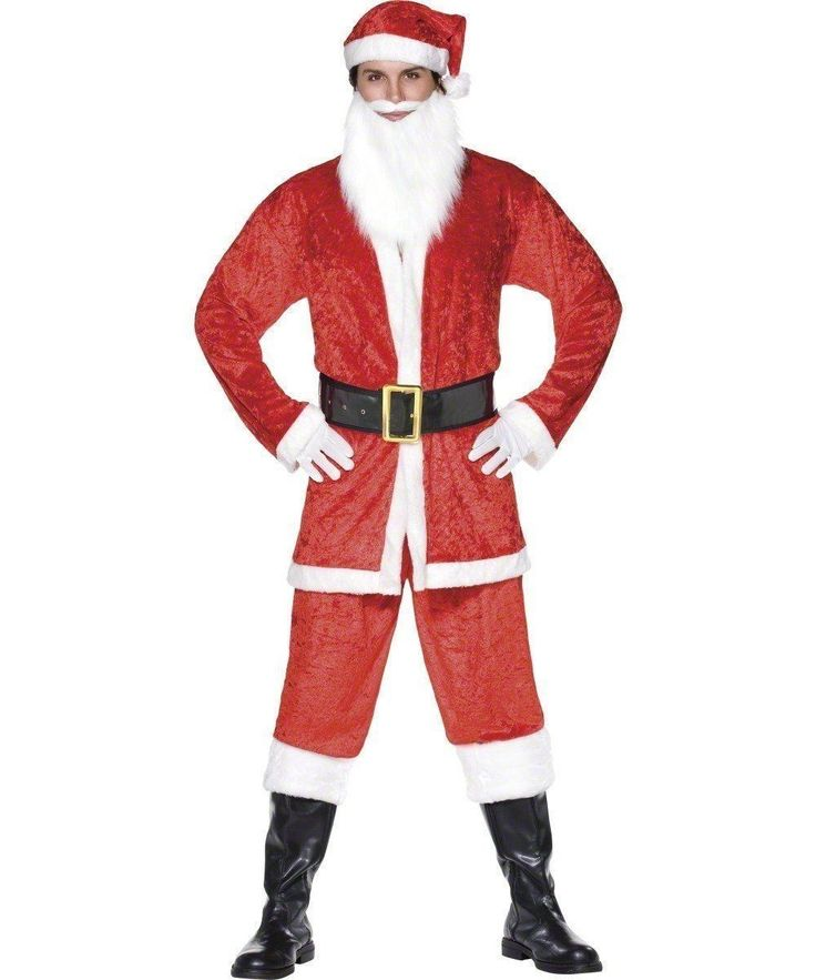 Father Christmas Budget 5pc Fancy Dress Santa Clause Costume UK - Dragons Den Fancy Dress Limited