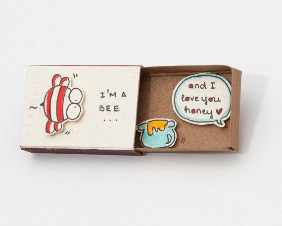 Bee Valentine Card/ Funny Cute Love Card/ Anniversary Card/ Matchbox /Gift box…