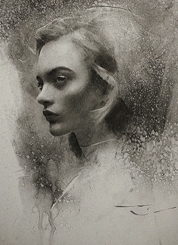 Casey Baugh, beautiful female portrait profile charcoal cropped drawing. caseybaughfineart.com