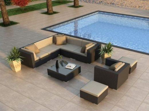 harmonia living luxe urbana 8 piece modern outdoor wicker sofa sectional set with tan sunbrella cushions sku