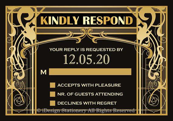 Vintage Art Deco gran Gatsby temática invitación con RSVP