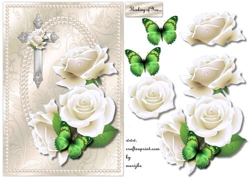 Elegant pearls and White Roses Sympathy | Craftsuprint