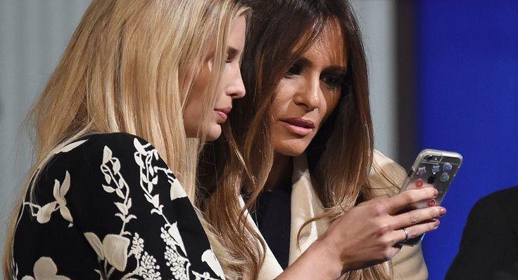 Ivanka and Melania Trump look at a smartphone after the Jan. 14, 2016, Republican presidential debate in Charleston, S.C.