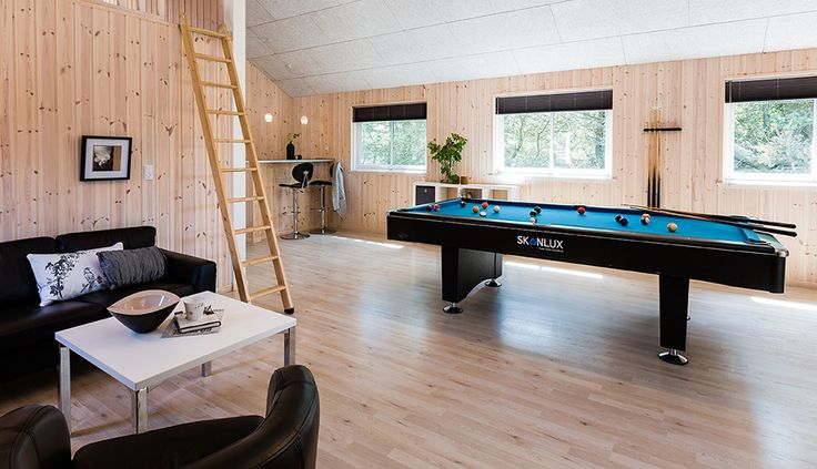 Store sommerhuse indrettes ofte med aktivitetsrum, hvor der kan opstille eks. poolbord, bordtennis o.l.
