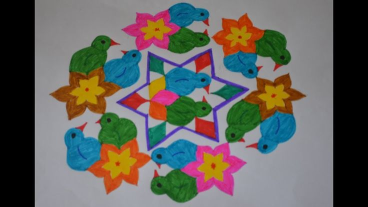 Simple and easy Parrot kolam Step by step prodecure